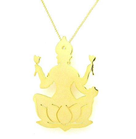 Colar Deusa Lakshmi - Prata 925 com banho de ouro