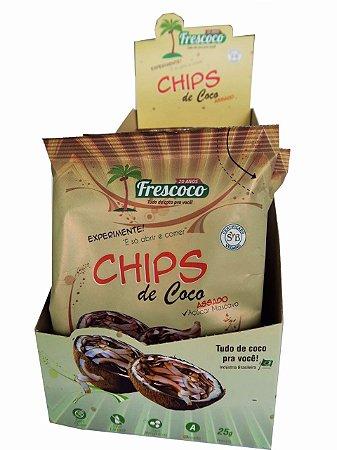 Chips de Coco Assado C/ Açúcar Mascavo 25g - Cx 20 unidades