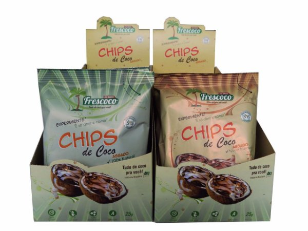 Chips de Coco Assado 100% Natural 25g Caixa Mista 20 unidades