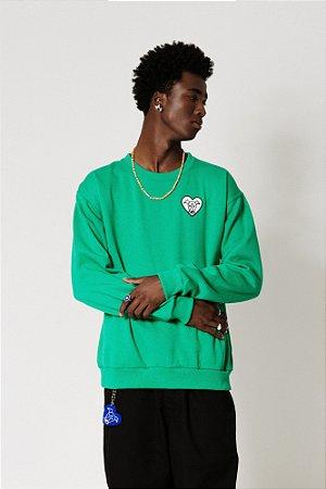 Blusa Moletom Verde Bordado Heart