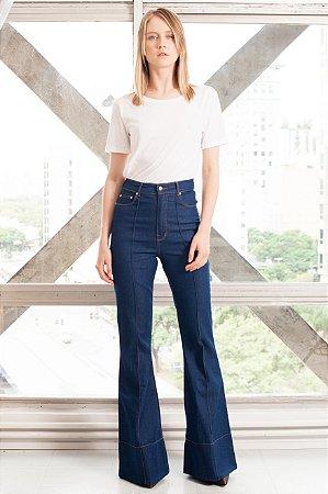 Amapô Calça jeans flare cintura alta