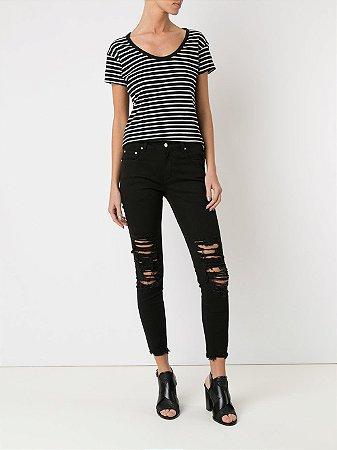Amapô Calça Jeans Skinny Cropped Black
