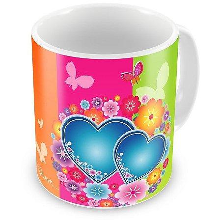 Caneca Personalizada Porcelana Buquê de Corações