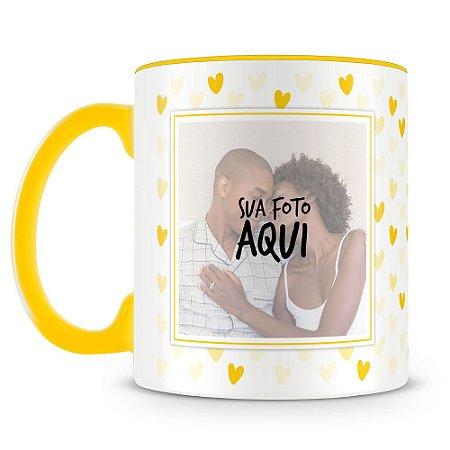 Caneca Personalizada Corações - Amarelo (2 Fotos)