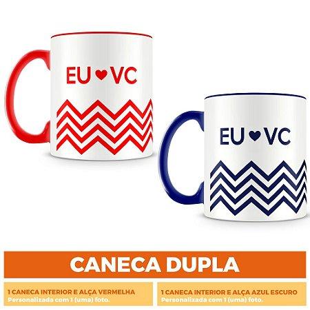Caneca Dupla Personalizada Eu Amo Vc (Com Foto)