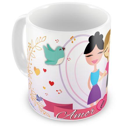 Caneca Personalizada Porcelana Amor é Amor (Feminimo)