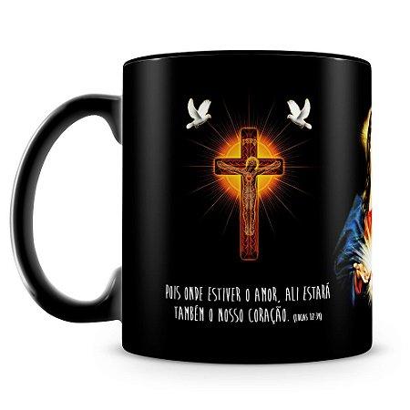 Caneca Personalizada Coração de Jesus (100% Preta)