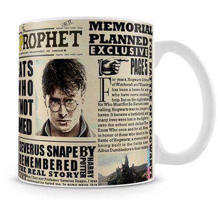 Caneca Personalizada Porcelana Harry Potter Jornal Profeta Diário (Mod.2)