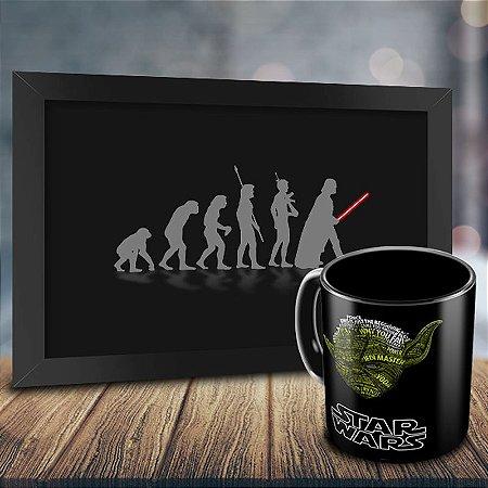 Caneca Personalizada Mestre Yoda + Quadro Evolução Geek