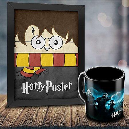 Caneca Personalizada Harry Potter (Preta) + Quadro Harry Poster