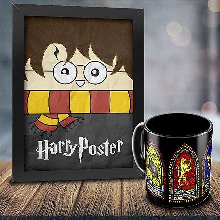 Caneca Personalizada Harry Potter Vitral Casa Harry Potter + Quadro Harry Poster
