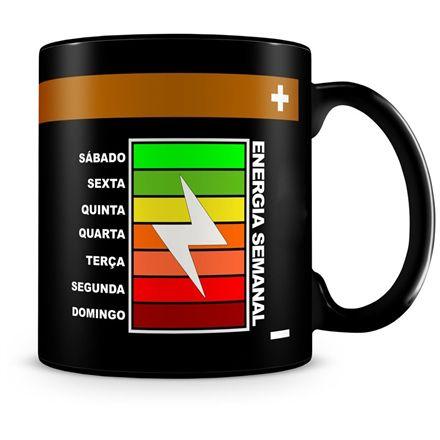 Caneca Personalizada Energia Semanal (100% Preta)