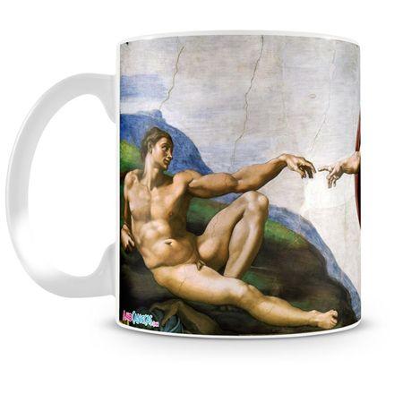 Caneca Personalizada Porcelana Michelangelo A Criação de Adão