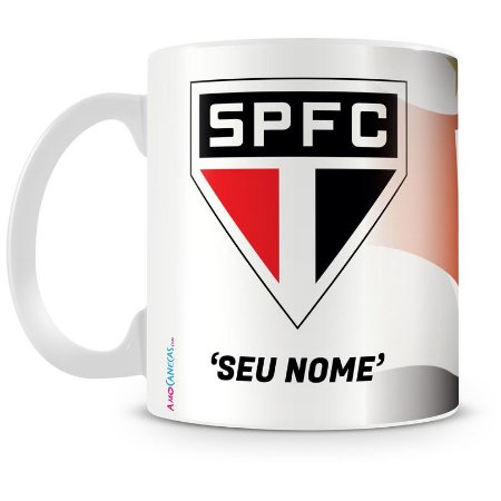 Caneca Personalizada Porcelana São Paulo Futebol Clube (Com Nome)