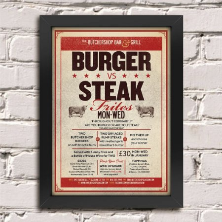 Poster Burger vs Steak