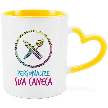Caneca de Porcelana Alça Coração Personalizada do seu Jeito Amarela