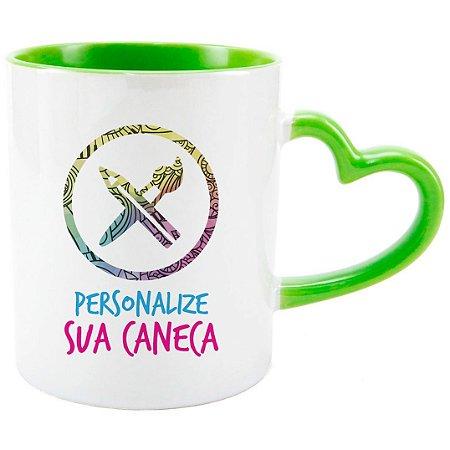 Caneca de Porcelana Alça Coração Personalizada do seu Jeito Verde Claro