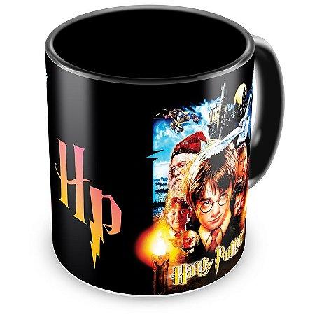 Caneca Personalizada Porcelana Harry Potter e a Pedra Filosofal (Preta)