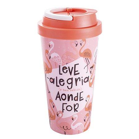 Copo Térmico Para Viagem Flamingo Leve Alegria Aonde For