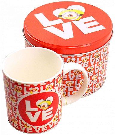 Caneca de Porcelana na Lata Love Minions
