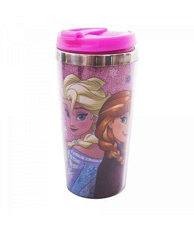 Copo Térmico Rosa Com Tampa Anna, Elsa & Olaf Frozen