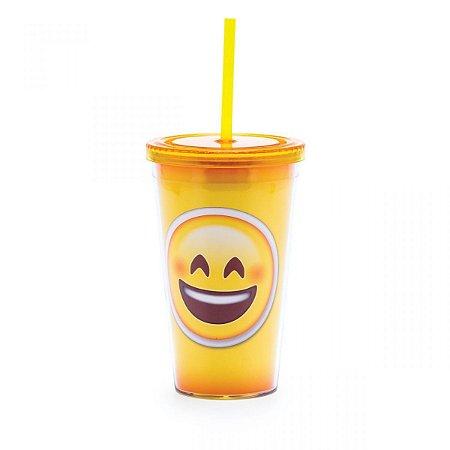 Copo com Canudo Emoji Sorriso