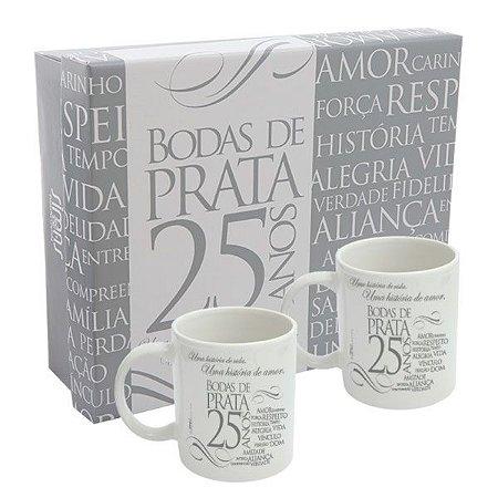 Caneca de Porcelana Bodas de Prata (Kit)