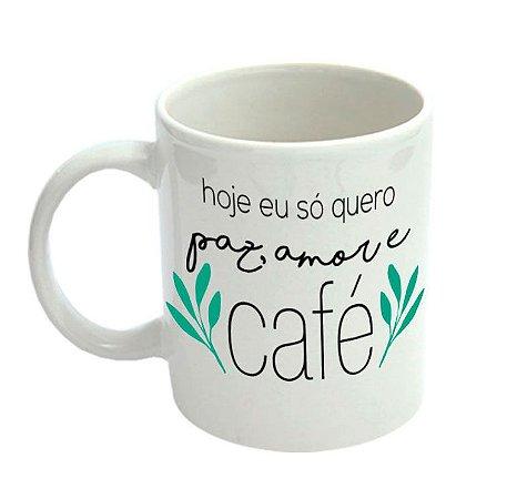 Caneca de Porcelana Paz Amor Café