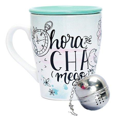 Caneca de Porcelana com Infusor Inox Hora do Chá