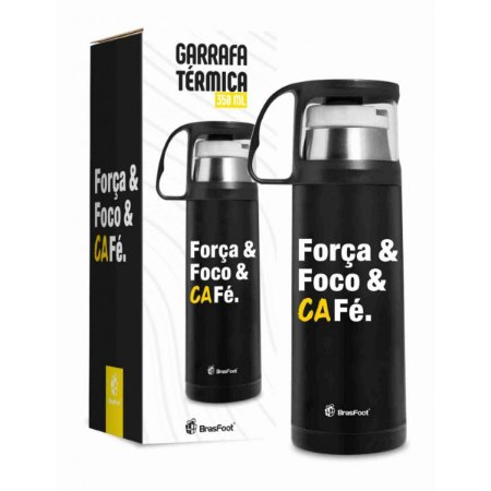 Garrafa Térmica com Caneca Força, Foco, Café