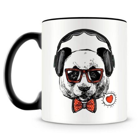Caneca Personalizada Panda Hipster