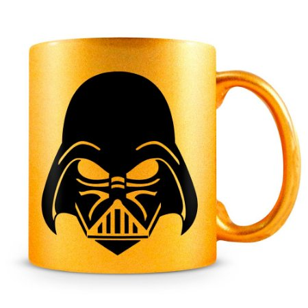 Caneca Personalizada Star Wars Darth Vader Perolizada Dourada