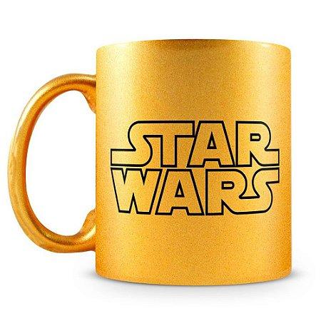 Caneca Personalizada Star Wars Darth Vader Dourada Perolada
