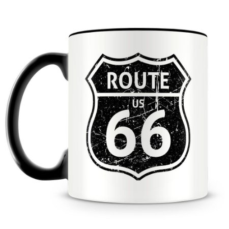 Caneca Personalizada Route 66 (Preta)