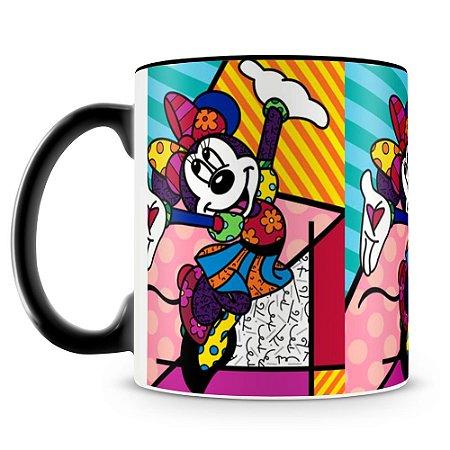 Caneca Personalizada Porcelana Romero Britto Minnie (Preta)