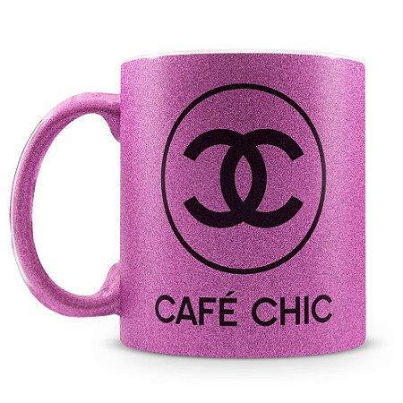 Caneca Personalizada com Glitter Café Chic