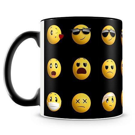 Caneca Personalizada Emojis (Preta)