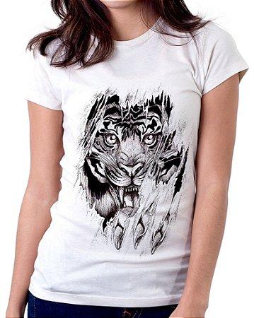 Camiseta Feminina Baby Look Personalizada Estampa Tigre