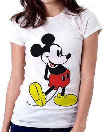 Camiseta Feminina Baby Look Personalizada Estampa Mickey