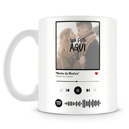 Caneca Personalizada com Foto e Música Spotify