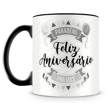 Caneca Personalizada Aniversário - Preta (Foto e Nome)