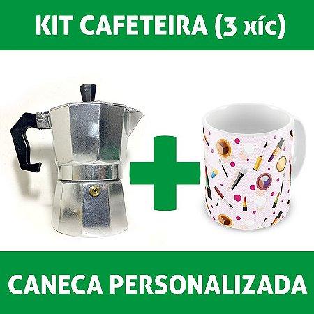 Kit Cafeteira Italiana (3 xícaras) + Caneca Personalizada
