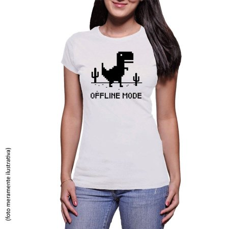 Camiseta Dinossauro Chrome - Offline Mode