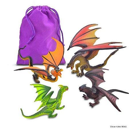 Kit de miniaturas dos 4 dragões do torneio tribruxo em Harry Potter e o Cálice de Fogo
