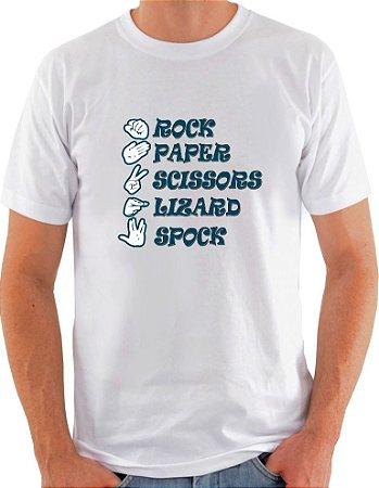 Camiseta Unisex pedra, papel, tesoura, lagarto e Spock
