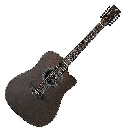 Violão Rozini 12 Cordas Folk Cut Way Em Louro Preto Elétrico Com Afinador