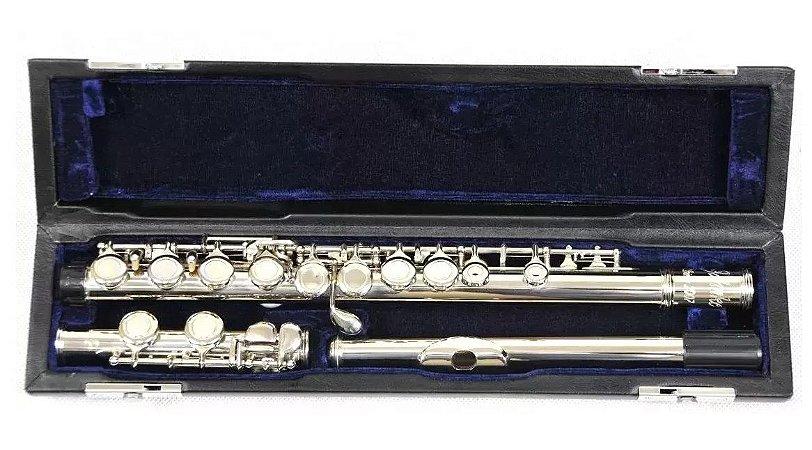 Flauta Transversal Em Dó 16 Chaves Jfl001-nq Jahnke C/ Case
