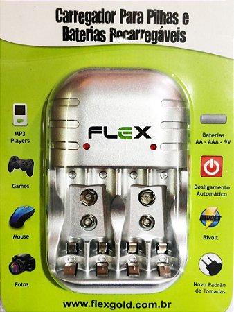 Carregador p Pilhas e Baterias Recarregáveis Flex FX-C03
