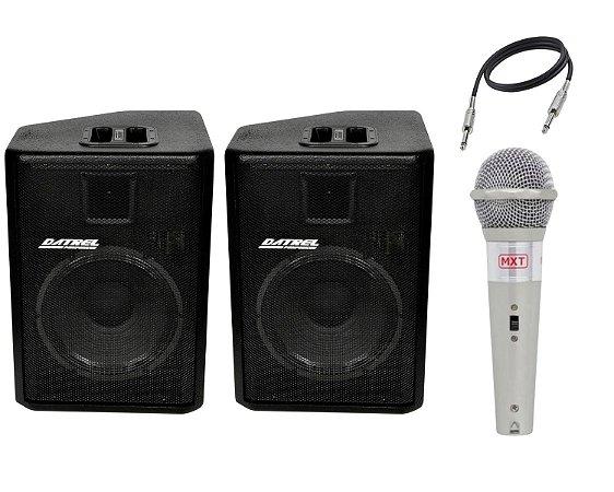 Caixa Ativa Datrel AT12250 Passiva CE250 250W Cabo Microfone