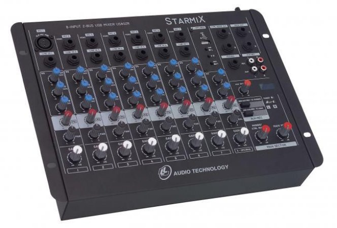 Mesa De Som LL Audio Starmix US802R Mixer 8 Canais Com USB E Efeito